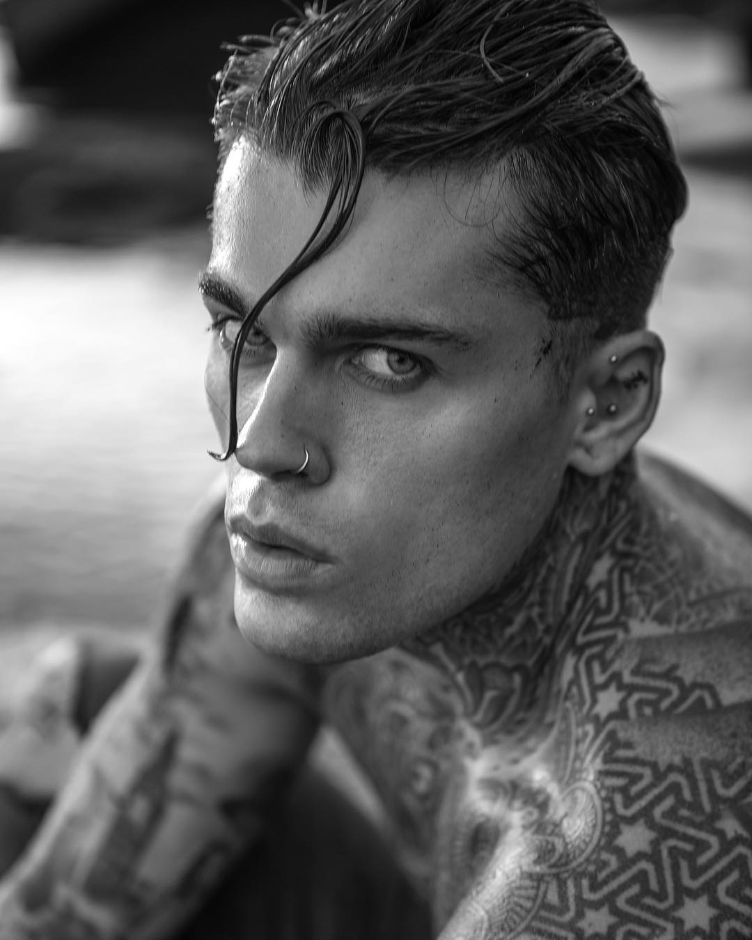 stephen james model black and white close up